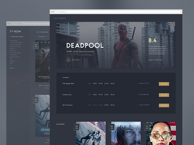7th row app concept video film theatre cinema movie simple design app ui