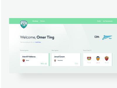 Fifa tournament user page minimalist website dashboard xbox games tournament fifa football simple design app ui
