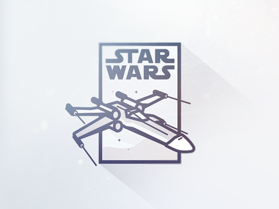 Star Wars Thursday vector flat iconography outline artwork poster xwing star wars illustration