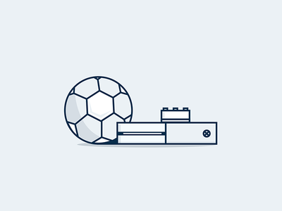 Me time free time minimalistic simple xbox lego football vector icons illustration