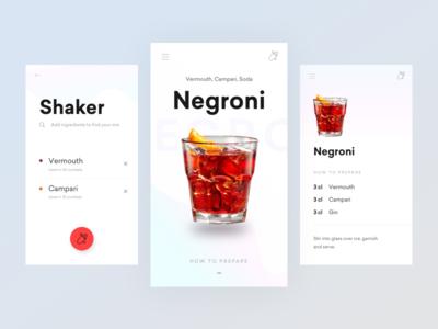 Shaker concept drinks ui clean mobile app cocktails