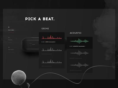 Pick a beat. landing page app music dark design interface ui