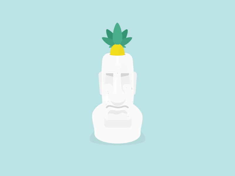 Fruity ideas fruits stone icons design vector statue pineapple illustration