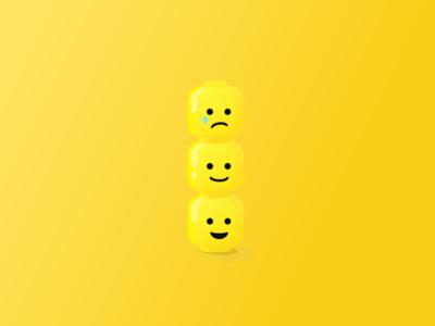 Lego emotions simple design vector icons lego head lego illustration