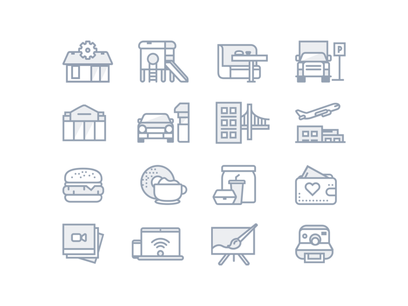 Fastfood facilities icons vector icon app interface simple illustration outline clean flat design ui icons