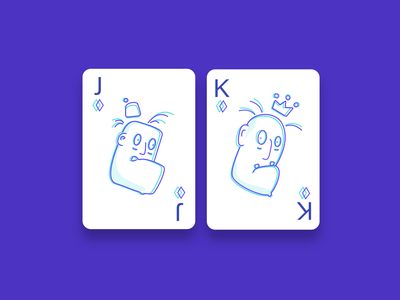 Mad cards diamonds mad king jack icons vector simple illustration clean outline design cards playing cards