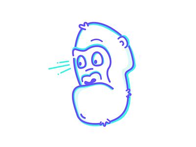 Monkey business character clean art head monkey gorilla vector design simple illustration outline