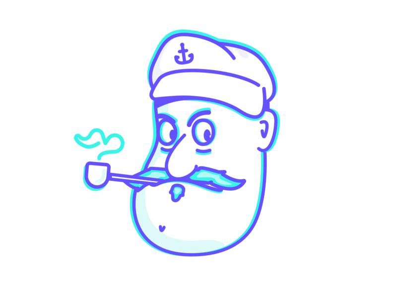 Aye, Captain. captain sailor head character concept character artwork design clean vector simple illustration outline