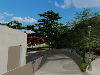 A render photo of a landscaping of a residence. 3d residence landscape design architecture render