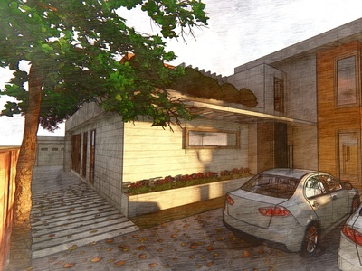 Sketchy render of a residence. render 3d residence architecture