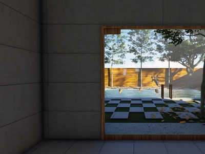 A render image from indoor to pool side area. residence architecture 3d rendering interior