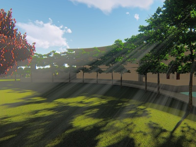 Render of a playing court of a residence. architecture render 3d