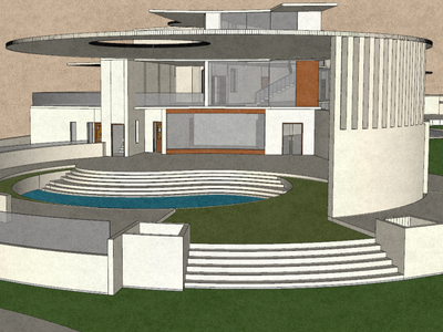 Indoor pool view of a residence. render architecture 3d