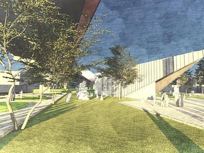 Sketchy render. 3d design architecture render