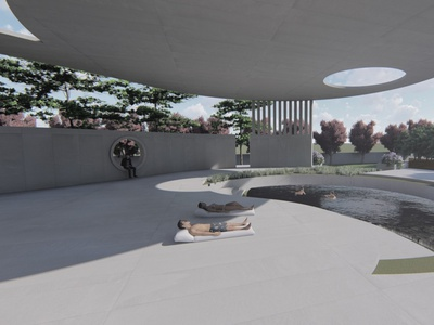 Render: poolside area of a residence. exterior residence render architecture 3d