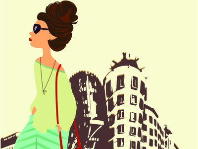A woman standing beside Dancing building illustration character design