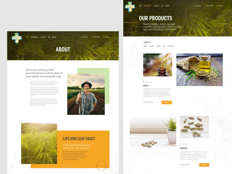 Life Leaf - website redesign pt. 2 cbd wordpress ui article page grid layout hero image desktop design ui design grid design landing page header