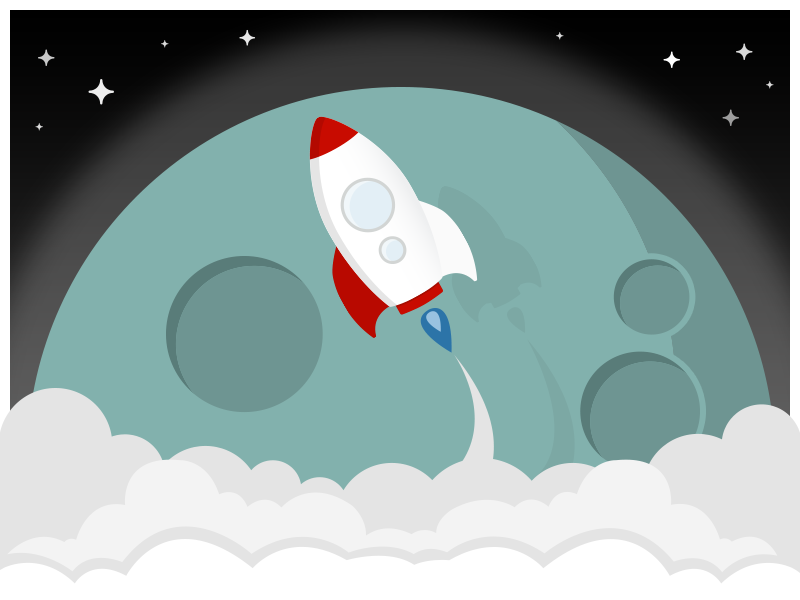 boost up illustration flat clouds adventure stars universe sky moon space rocket