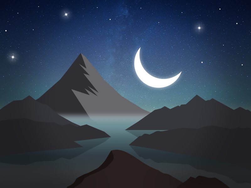 Night star stars sky darkness moon mountains night