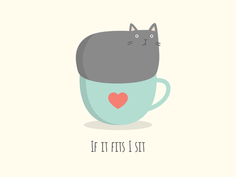 If It Fits... illustration flat if it fits i sit cup cat love sit fit