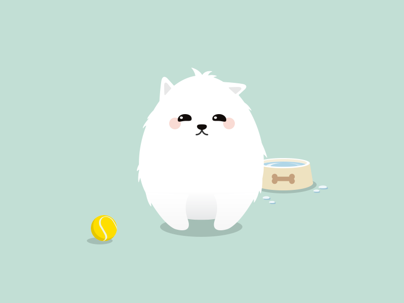 Little friend illustration flat ball tennis white dog bowl puppy