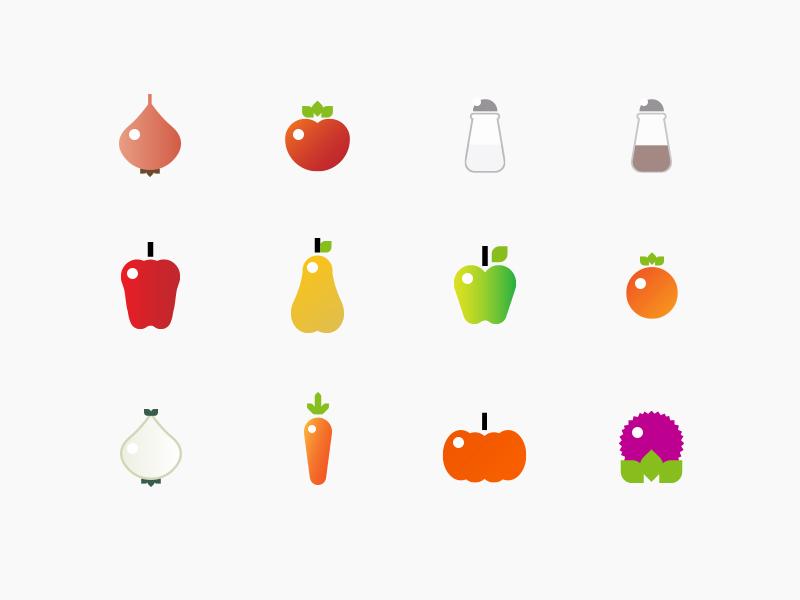 Healthy food healthy food icon pumkin carrot pear pepper tomato salt onion mandarin apple