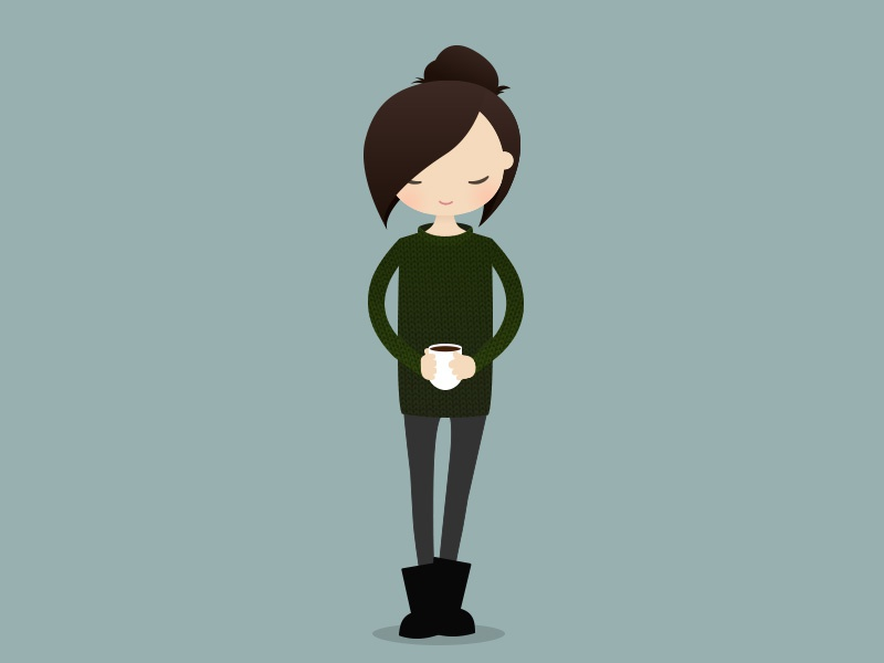 Good morning :) sleep mug cup cold boots morning winter sweater knitted green coffee girl