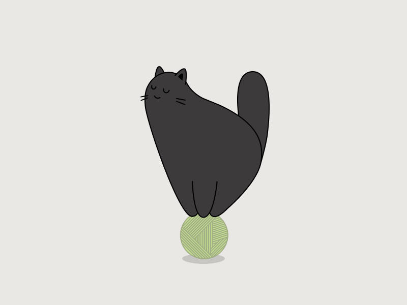 Cat in balance toy happy peace wool ball cat fat