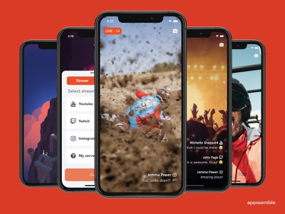 deliverer - live video and screencast streams ui ux mobile design android ios app