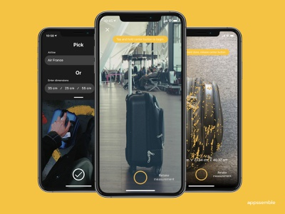 luggage fit - Measure your cabin baggage minimal ui ux mobile design ios android app