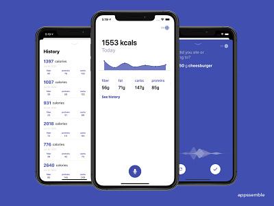 voicecal - voice calories counter minimal ux ui mobile design ios app android