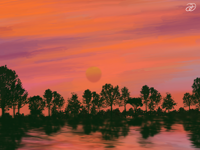 Sunset No. 1 digital painting digital art artwork apple ipad oil paint oil on canvas oil painting illustration graphic design procreateapp procreate art apple pencil digital illustrations