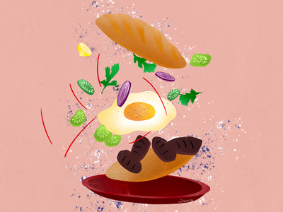 Bánh mì (Ban me?) food apps food app design food app ui delivery illustration art food app design banh mi still-life stilllife delivery app uiux branding ui graphic design artwork illustration procreate art digital illustrations