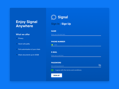 SIGNAL LOG IN PAGE UI web login website web design blue login login design login screen login page login form signal uiuxdesigner ui ux branding uiuxdesign uiux