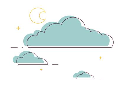 Clouds Illustration moon clouds flat minimal vector design illustration