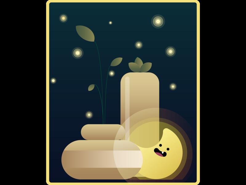 Night scene night sweet cute art fireflies pots plants cute illustrations moon vector illustration