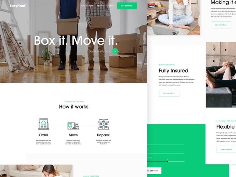 EasyHaul Website hero ireland green landing page moving shipping layout ui web website
