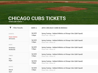Event Page Concept ux ui filters tickets table baseball