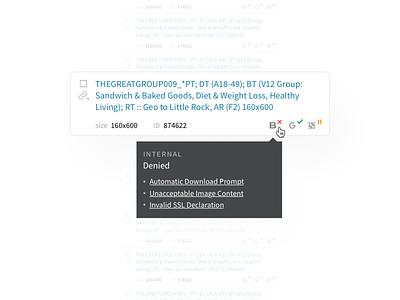 Creative Review tooltip review status ui design ui