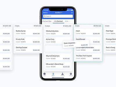 Mobile CRM Deals product design user experience ux user interface ui app apple mobile stages pipeline swipe drop drag sales deals crm