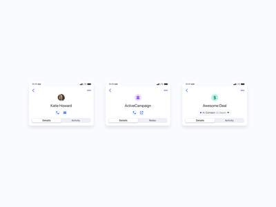 Profile Header Exploration app ui crm mobile header profile interaction