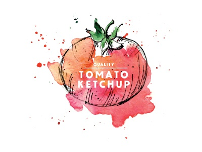 Quality Tomato Ketchup quality red watercolor vector tomato label logo ketchup