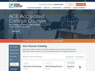 College Course Microsite Wireframe online education course education college website design wireframe