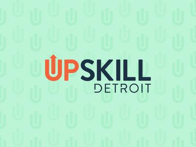Upslkill Detroit Brand landing page skillsgap education branding logo detroit upskill