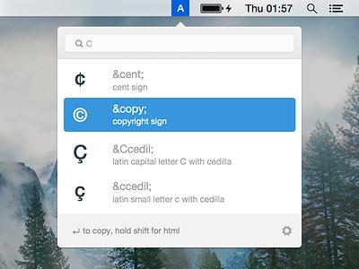 Entity Lookup Menubar App menubar app os x ui