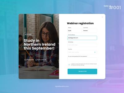Sign Up Webinar | DAILY UI 001 signup webinar design ui dailyui