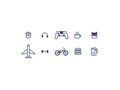 Iinterest Resume Icons icons beer burger bmx gym travel batman coffe playstation music popcorn