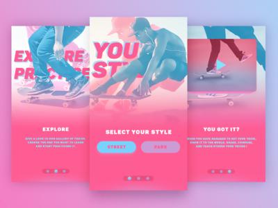 #DailyUi: #023 Onboarding skateboarding skateboard skater skate blue pink uiux onboarding 023 dailyui