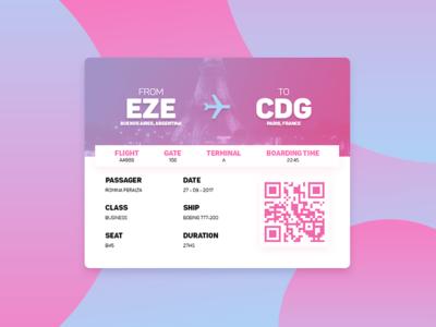 #DailyUi: #024 Boarding Pass design ux ui france paris arg boardingpass 024 dailyui