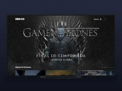 HBO GO: Game Of Thrones uidesign winter is here final season game of thrones appletv hero concept design app abogo